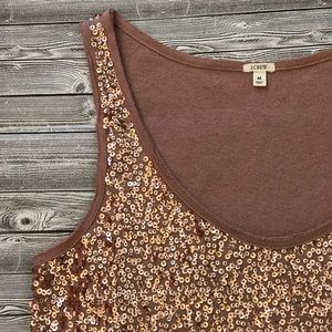 J. Crew Drapey Sequin Tank Dusty Pink Rose Gold